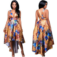 Yellow Floral Print V-Neck Asymmetric Dress