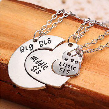 Charm 3pcs Big Middle Little Sisters Necklaces Gift Silver Hearts Pendant HU