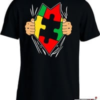 Funny Autism Awareness Shirt Autistic Superhero T Shirt Gifts For Kids Youth Mens Tee MD-118