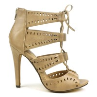 MarkandMaddux Common-02a Laser-cut Lace-up Sandals in Taupe @ ippolitan.com