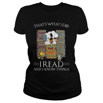 Snoopy Woodstock that's what I do I read and I know things Premium Fitted Ladies Tee