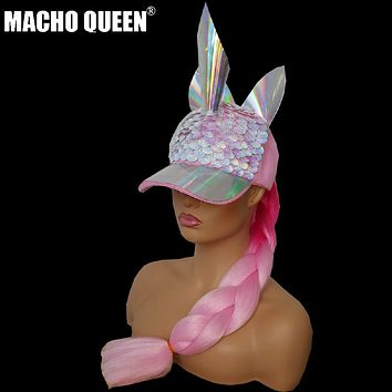 Holographic Mermaid Unicorn Cap (with/without pink tail)