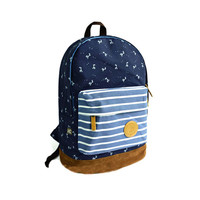 Fresh Deer Strip Print Canvas Backpack-dark blue
