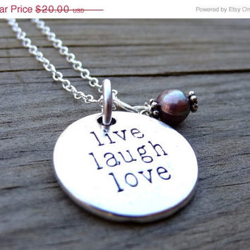 ON SALE LIVE Laugh Love Silver White Freshwater Pearl Crystal Bead Necklace Pendant Wire Wrap Handmade Jewelry