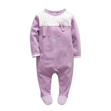 2017 Newborn tender Babies girls clothes christmas baby rompers Floral baby overalls winter foot ie cartoon rabbit baby jumpsuit