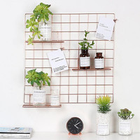 Rose Gold Grid Photo Wall, Wire Mesh Display Panel Decorative Rack Photograph Hanging Picture , Ins Art Photo 22.8 x22.8 inch
