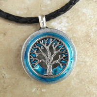 tree of life necklace: sky blue - mens jewelry - celtic jewelry - mens necklace - boyfriend gift - spiritual - tree jewelry - leather cord