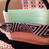 Mint and Tribal Hair Tie Set of 4