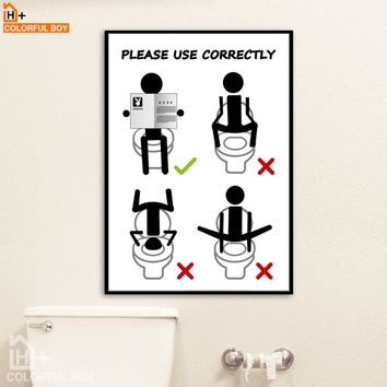 "Bathroom Wall Art: Toilet Humor ""Please Use Correctly"" Canvas Wall Art Print"