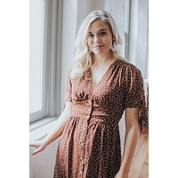 In The Evening Polka Dot Dress, Brown