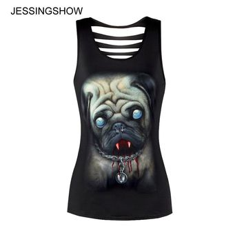 Summer New Tank Tops Women Bodybuilding Halter 3D dog Printed Top Black  women Sportes Camis Femme Fitness Crochet Top