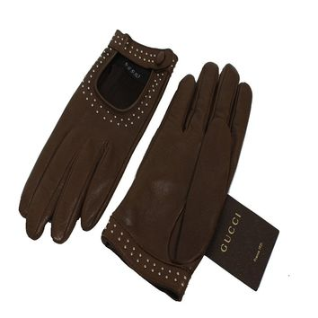 Gucci Women's Studded Brown Leather Riding Gloves 370649