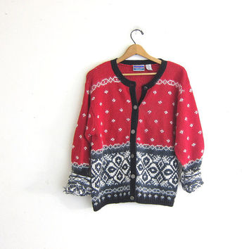 20% OFF SALE vintage sweater cardigan. Red, Black and white knit ski sweater. snowflakes cardigan. Christmas sweater