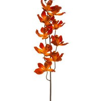 "Artificial Cymbidium Orchid Spray in Orange Flame - 30"" Tall"