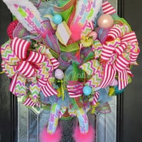 Easter Wreath, Easter Bunny Wreath, Spring Wreaths, Easter Decoration, Front door Wreaths, Whimsical Easter Wreath, Bunny Wreath