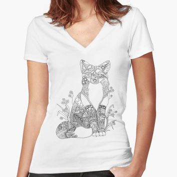 Coloring Shirt, adult coloring, wearable art, colorable clothes, gifts for her, shirt for women, v neck, fox art, adult coloring, gift idea