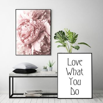 Blush Pink and White Peony Poster Nordic Canvas Painting Wall art Posters and Prints Flowers Pictures For Living Room Home Decor