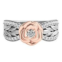 Disney Enchanted 1/5 ct. tw. Diamond Belle Rose Ring in Sterling Silver & 10K Rose Gold