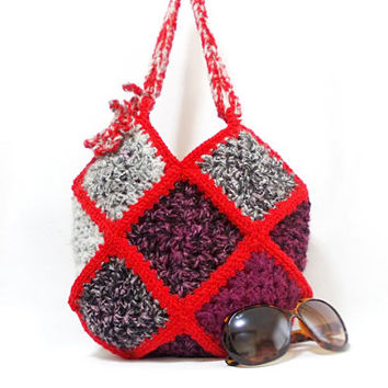 Crochet handbag, Squared, Multicolor bag, Crochet granny square bag, Gipsy, Crochet tote bag, Different colors on both sides