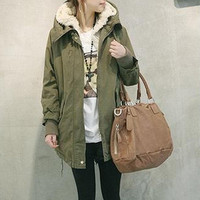 Army Green Fleece Hooded Parka Coat