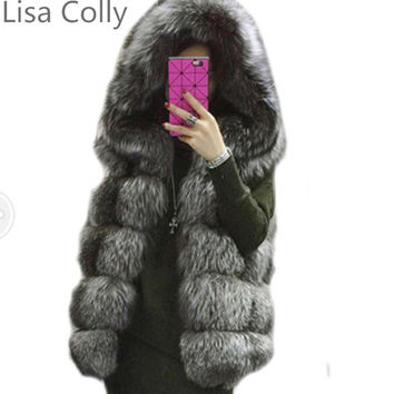 2015 winter coat silver fAUX fur coat hooded vest stripe medium-long vest large size women