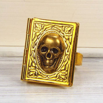 Skull Book Locket Poison Ring, Brass and Gold Plated, Gothic Jewelry