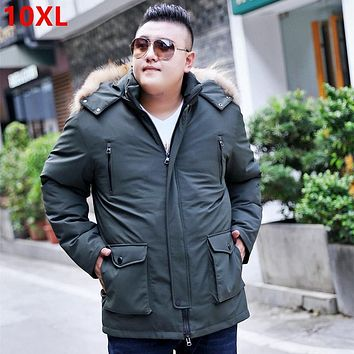 Winter new big size coat loose collar large size detachable liner down jacket male white duck down 9XL 8XL 10XL 150