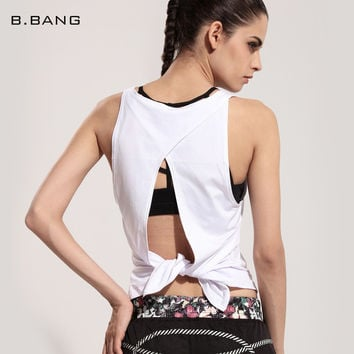 B.BANG Sexy Women Tank Tops Quick Dry Loose Sleeveless Back Open Hollow out Breathable Vest for Woman