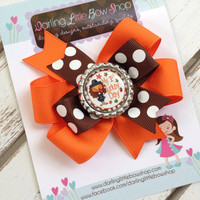My 1st Turkey Day Bow with optional headband --- Brown and orange layered Thanksgiving Bow with Bottle cap center