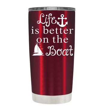 TREK Life is Better on the Boat Blue on Translucent Red 20 oz Tumbler Cup