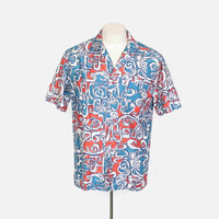 Vintage 60s HAWAIIAN SHIRT / 1960s Men's Abstract Print Kahala Rockabilly Shirt M