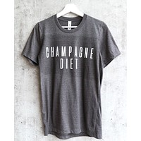 distracted - champagne diet unisex graphic tee - dark heather grey