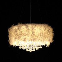 White Feather Chandelier with 3 Lights Crystal Drop Featured - US$ 159.99