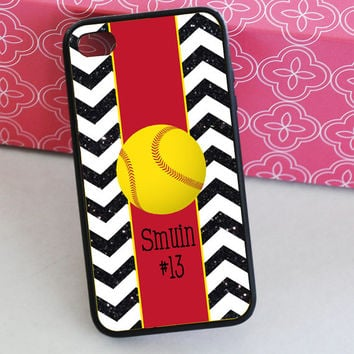 Softball Black Glitter Chevron iPhone Case - Monogrammed Softball iPhone Case - iPhone 4 Case - iPhone 5 Case - iPhone 5s Case
