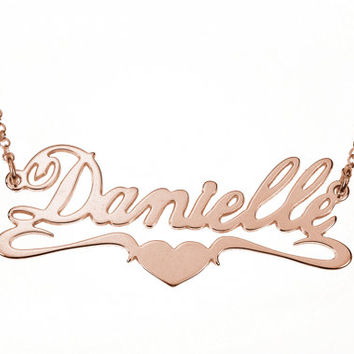 """18k Rose Gold-Plated """"Heart Bit"""" Style Name Necklace"""