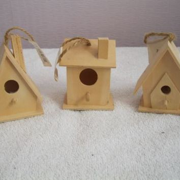 3 x miniature wooden houses fairy garden ornaments crafts dolls wood bird home | eBay