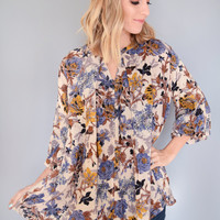 Fall Floral Cutout Top Blue