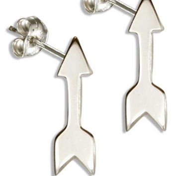 STERLING SILVER HIGH POLISH ARROW POST EARRINGS