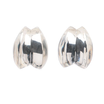 Patricia von Musulin Clear Lucite Double Scroll Clip Earrings