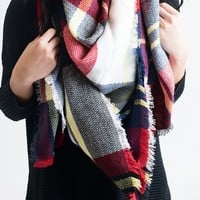 Campfire Plaid Blanket Scarf White