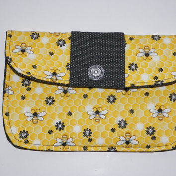 Happy Honeybee Bridal Clutch Small Outdoor Wedding or Mini Tablet Case Yellow and Black