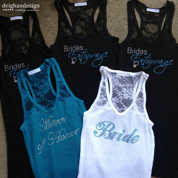 SALE SET OF 5 Bachelorette Tank Tops, Custom Bride Lace Tank Top, Rhinestone Tank, Bachelorette Party, Bridesmaid Tanks, Bridal Party Gifts