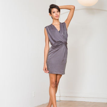Helmut Lang Silky V Neck Dress