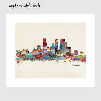 minneapolis  skyline .colorful modern pop art skylines .beautiful colorful fine art print and throw pillow covers.color your world