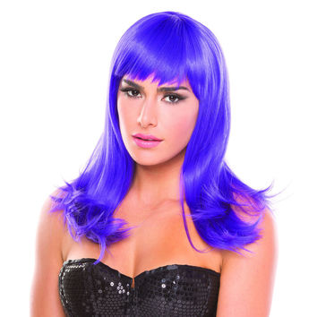 Purple Solid Color Hollywood Bangs Wig