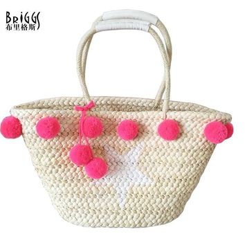 BRIGGS Fashion Straw Beach Bags Hand Knitting Women Handbags Casual Bucket Bag Luxury Design Summer Shoulder Bag