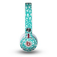 The Teal and White Floral Sprout Skin for the Beats by Dre Mixr Headphones