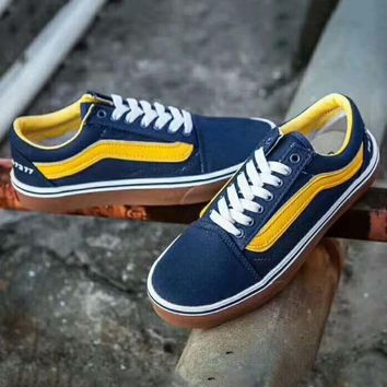 Vans Old Skool Navy Yellow Flat Sneakers Sport Shoes G-ZPMY-ZZQGDL