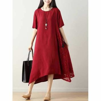Chinese Style Embroidery Solid Loose Hem Dress