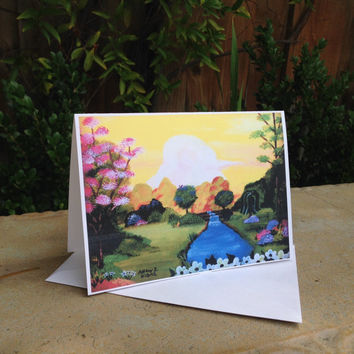 Spring Flower Garden Landscape 5x7 Greeting Card + Envelope (Colorful, Art Painting Print)
